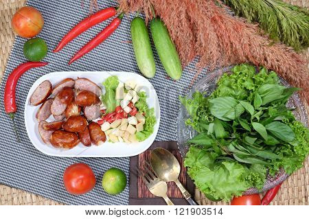 Northeastern Sausage and spicy salad food in Thailand