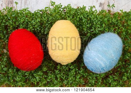 Easter eggs wrapped woolen string and fresh green cuckooflower cress decoration for Easter