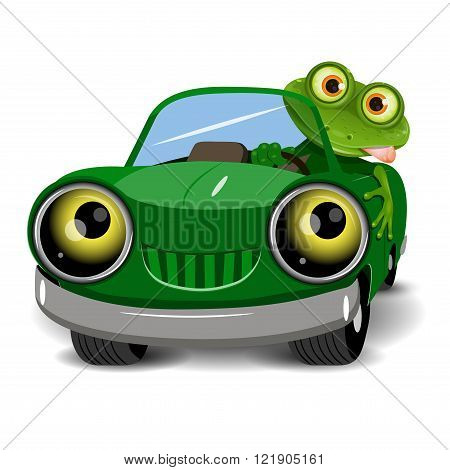 Illustration of a green frog in the car