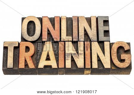 online training banner i - isolated text in vintage letterpress wood type printing block stained by color inks
