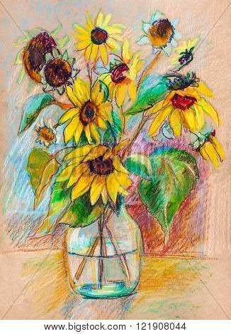 Bouquet of  the sunflowers in glass vase