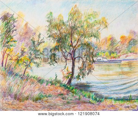 Lake in autumn surrounded by the  willows
