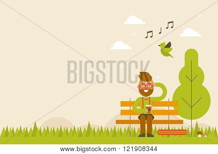 Hipster In Spring Background
