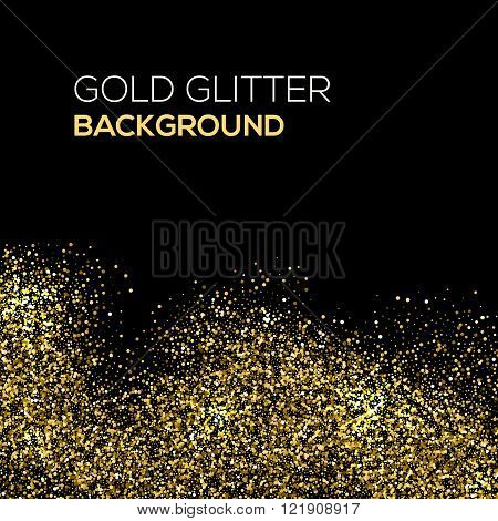 Gold confetti glitter on black background. Abstract gold dust glitter background. Golden explosion o