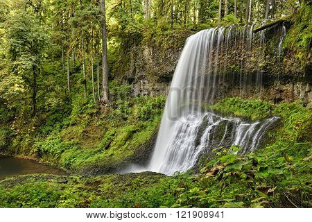Middle North Falls in lush green forest surroundings, Silver Falls State Park, Oregon.