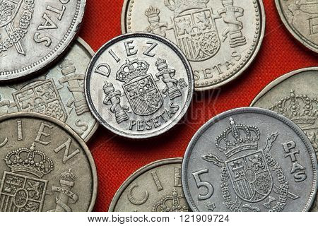 Coins of Spain. Coat of arms of Spain depicted in the Spanish 10 peseta coin.