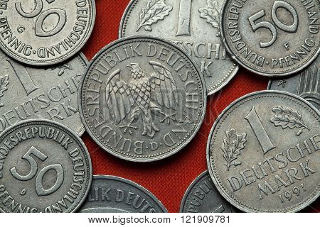 Coins of Germany. German eagle depicted in the German one Deutsche Mark coin.