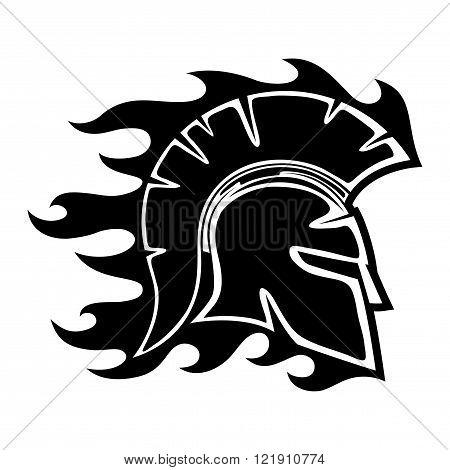 Spartan helmet sign on a white background.