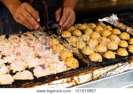 Making of tako yaki at stall