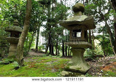 Stone lantern in park