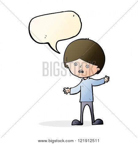 cartoon unhappy boy with speech bubble