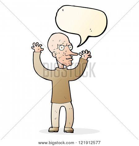 cartoon mean man with speech bubble