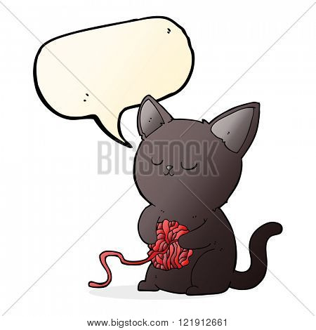 cartoon cute black cat playing with ball of yarn with speech bubble