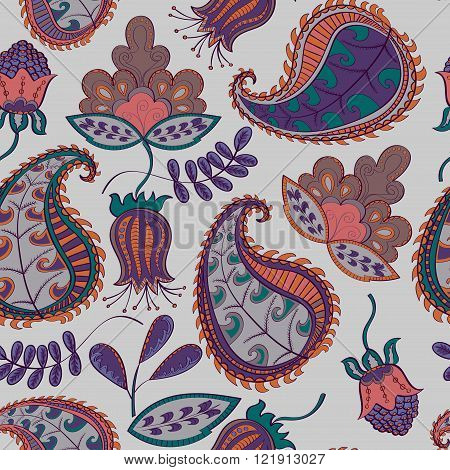 Floral abstract background with flowers and leaves. Colorful Paisley pattern.