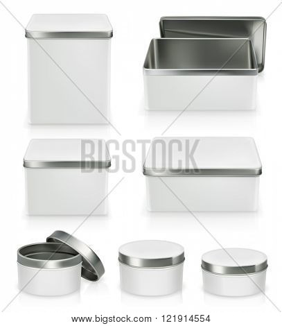 Set of metal boxes. Metal box mockup. Packaging, vector object isolated on white background