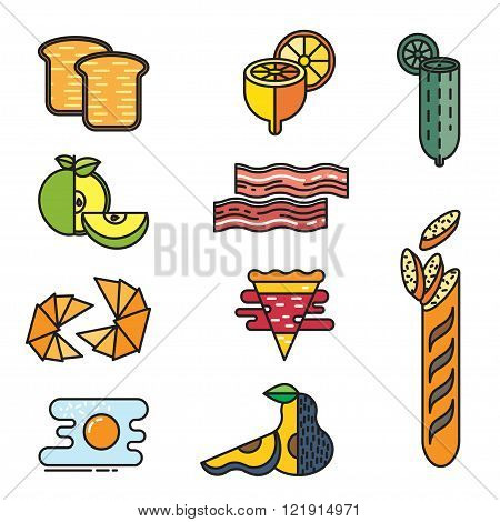 set of colored icons food