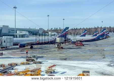 Moscow, Russia - March 22, 2012: Airbus A320 Of Aeroflot At The Airport Sheremetyevo