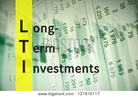 Acronym LTI as Long Term Investments. Financial data visible on the background.