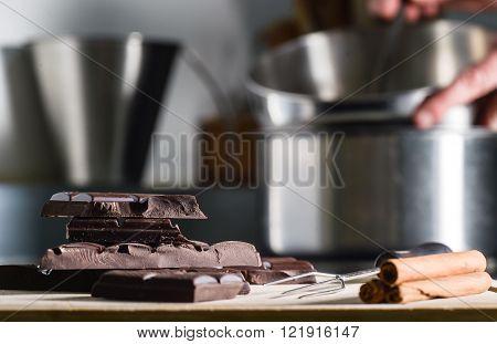 Broken chocolate bar Chocolate preparation in  Kitchen