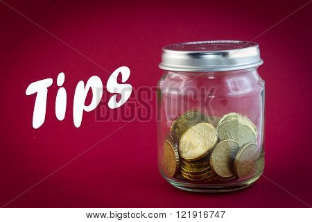 Little Jar with euro coins - tips concept