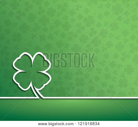 Happy St. Patrick's Day Irish four leaf lucky clover. Vector background