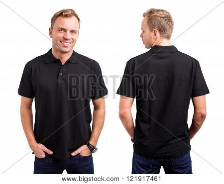 Man in black button up shirt from back and front