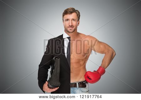 Collage of two parts of man: the concept of real sport and business work balance. Young businessman in suit on left and in boxing glove on right isolated in studio.