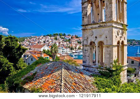 Historic Hvar architecture and waterfront view Dalmatia Croatia