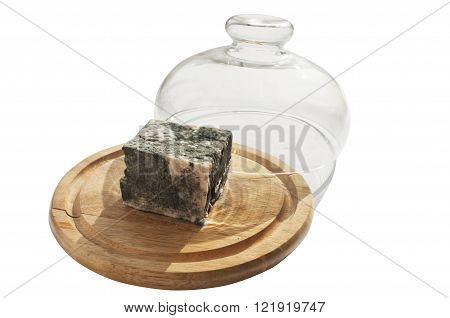 Lump of moldy white cheese and glass bell lid on wooden tray isolated on white background