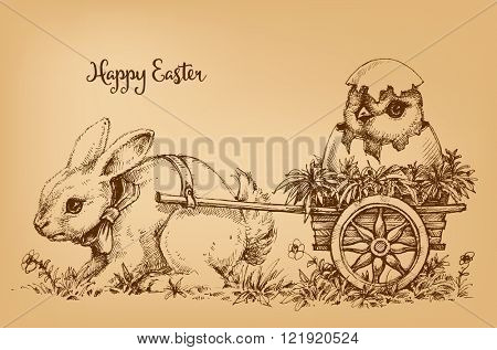 Easter bunny vintage card, etch style scene