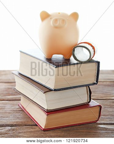 Piggy bank on top of books isolated on white