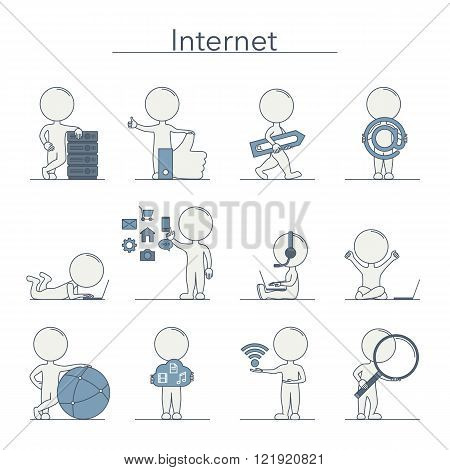 Outline people - Internet and technology. Vector illustration.