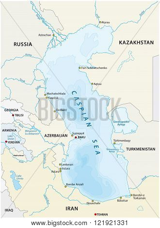 map of the Caspian sea with the neighboring states