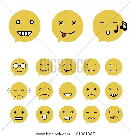 Emoticons Collection. Set of Emoji. Flat style. Different Emoticons. Vector illustration
