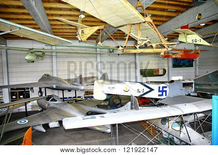 VANTAA FINLAND - JUNE 10 2015: Interior view of The Aviation Museum in Vantaa. The exhibition presents historic military aircraft used by the Finnish Air Force. For editorial use only.