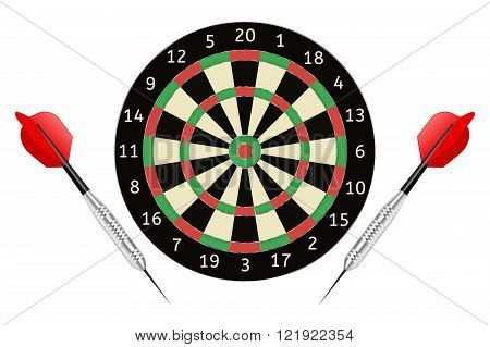 Darts board and darts arrows. Vector illustration isolated on white background