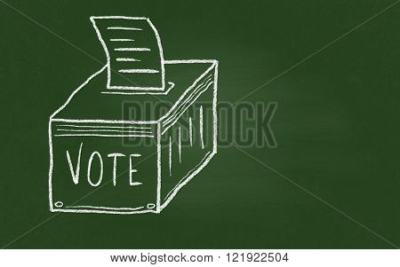 Image of Ballot Box on Blackboard. Three-dimensional Shape