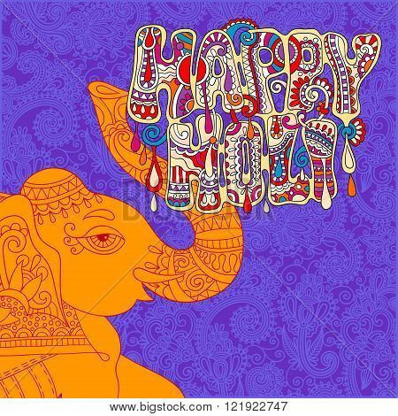 original Happy Holi design with head elephants on floral indian