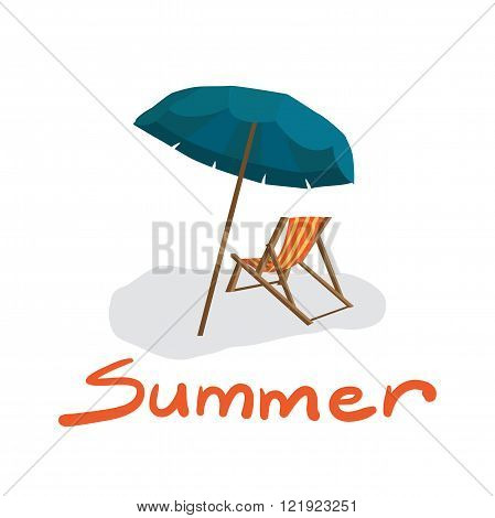 Sea summer beach sun umbrellas beach beds isolated with shadow on white background. Umbrella and deskchair on a beach in summer day vacation. Vector flat illustration