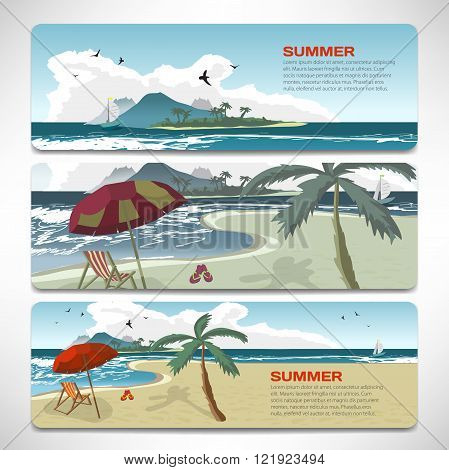 Set Of summer template banners gift cards. Branding design for travel agency. Vacation theme for gift card design. Summer beach with umbrellas bed beach island and yacht with place for text