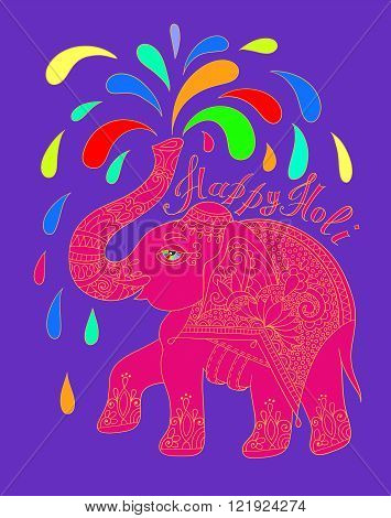 original greeting card Happy Holi design with elephant