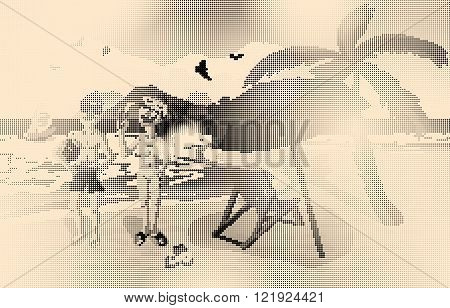 Sea landscape summer beach palm tree sun umbrellas beach beds. Couple man and woman in swimsuit on background seascape. Vector flat illustration halftone dots style on yellow background