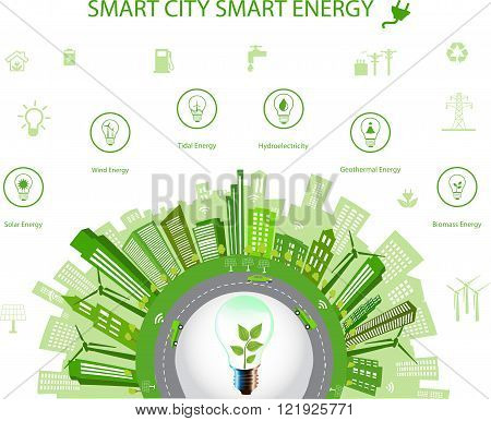 Ecological city concept.Smart city concept and Smart energy with different environmental icons. Green city design Green world green planet. Smart city concept/ Smart energy