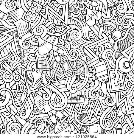 Cartoon hand-drawn doodles of medical seamless pattern
