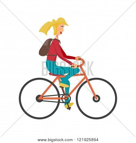 Young woman rides red bike on isolated background. Girl healthy leisure rides bike. Hipster girl with rucksack pedaling on summer time. Flat vector color illustration