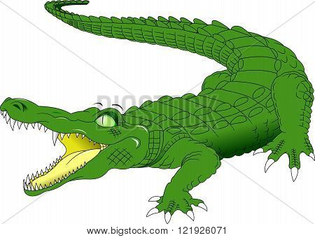 nile crocodile crocodylus niloticus wild african animal side view picture isolated on white background vector illustration;