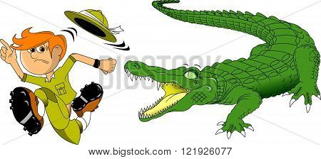 Hunter escapes from a huge scary crocodile vector