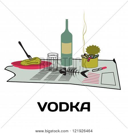 Bottle of vodka, snack, ashtray on an old newspaper. Alcoholism