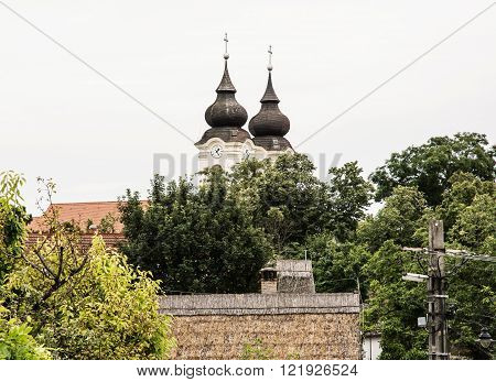 Tihany Abbey is a Benedictine monastery established at Tihany in the Kingdom of Hungary in 1055. Architectural theme.