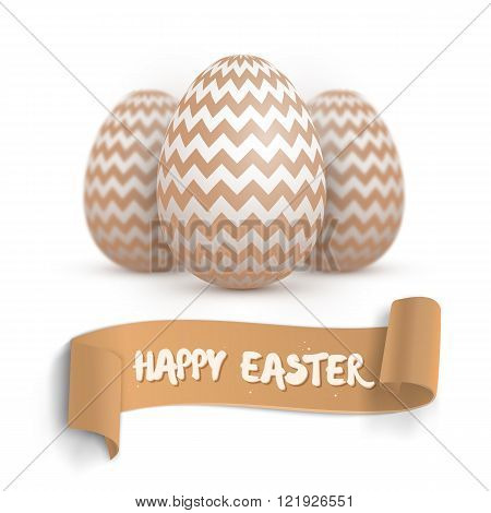 Realistic Vector Easter Egg Set. Happy Easter Painted Vector Egg